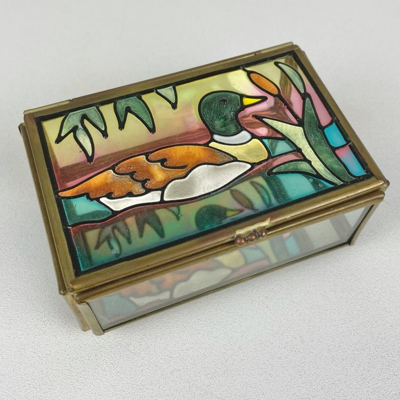 VTG Glass Mallard Duck Jewelry Trinket Box Brass Muted Colors Flip Top Lid  Mate
